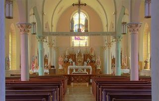 Saint Martin Roman Catholic Church, in Starkenberg, Missouri - nave