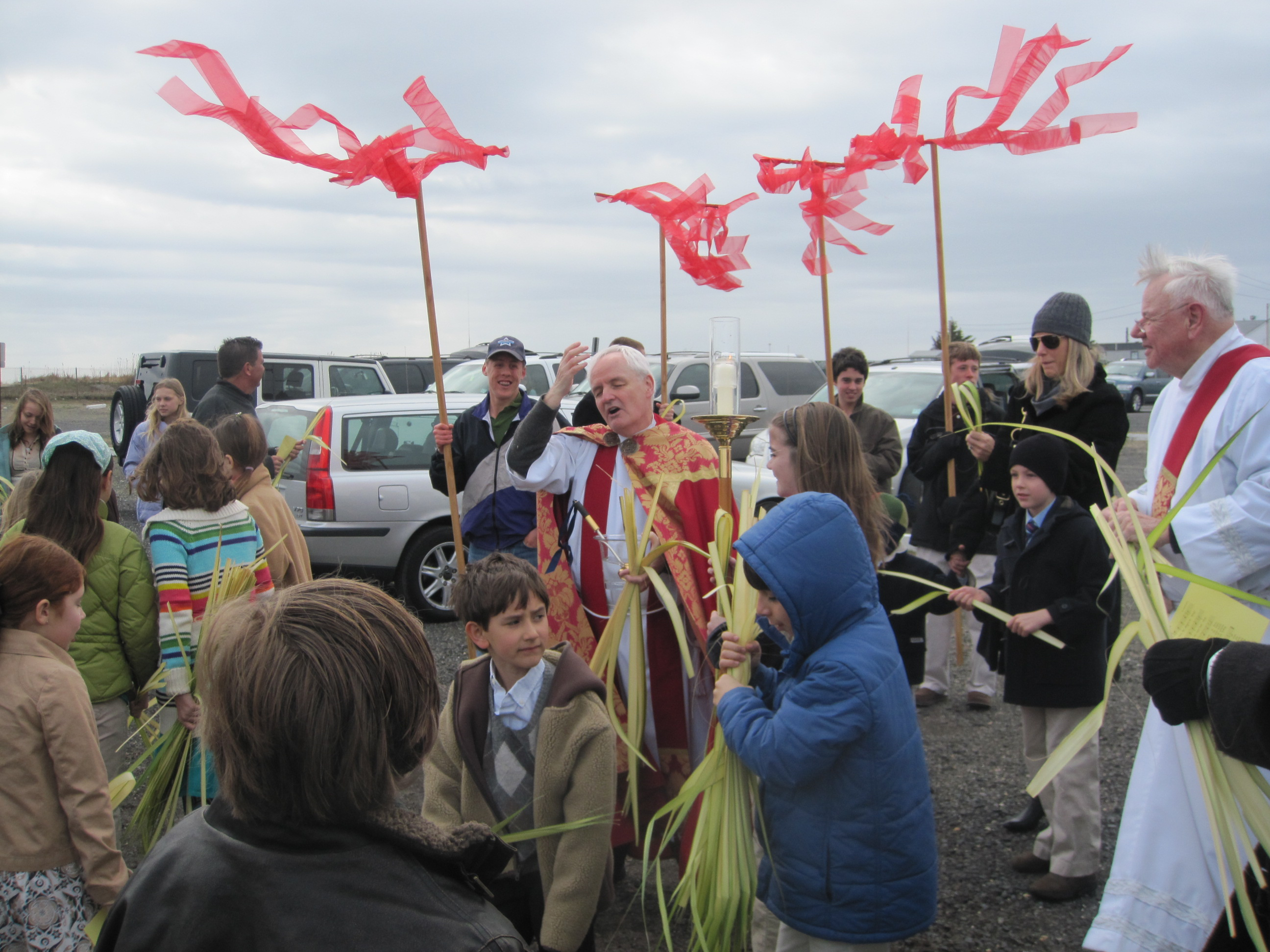Palm Sunday Procession across the Seabright Rumson Bridge at Holy Cross