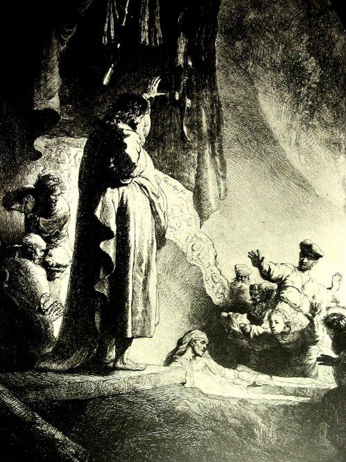 Rembrandt_etching Jesus raises Lazarus from the dead
