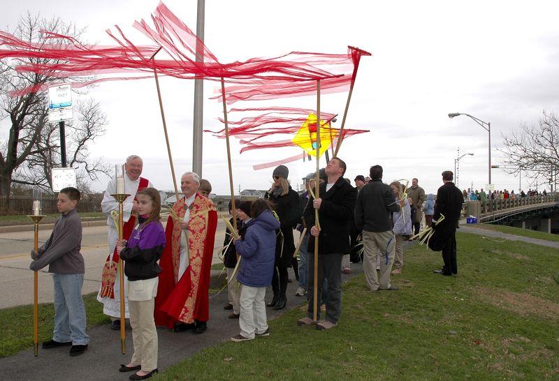 Palm Sunday Procession Crosses Bridge from Sea Bright to Rumson NJ
