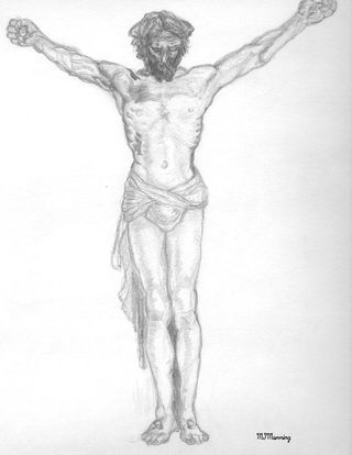 Pencil study for Christ Crucified by Rev Michael Manning