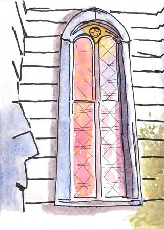 Ink and Watercolor of Church Window