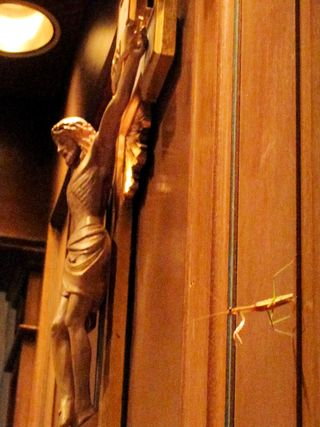 Praying Mantis in Church on Reredos
