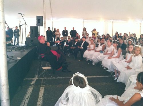 Bishop O'Connell meets with First Communicants
