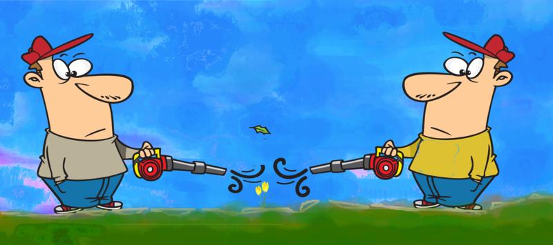 Cartoon of Leaf blower Noise