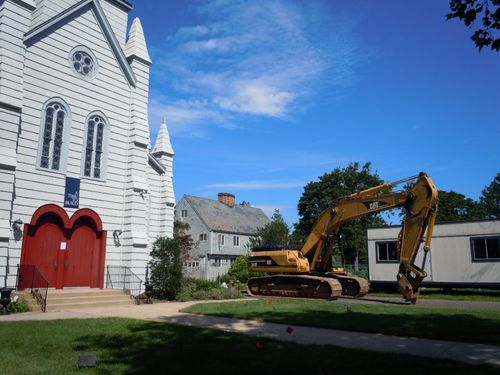 Church, Rectory and Construction Trailer