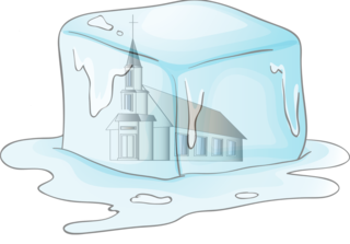 Church frozen in ice cube