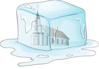 Church frozen in ice cube