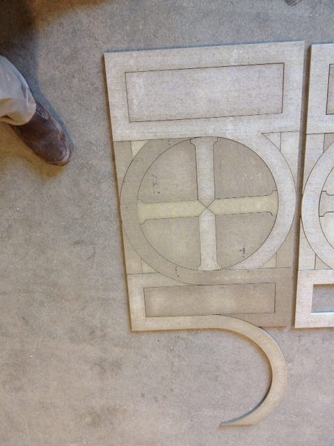 Preliminary MU of altar panel in Cement bd