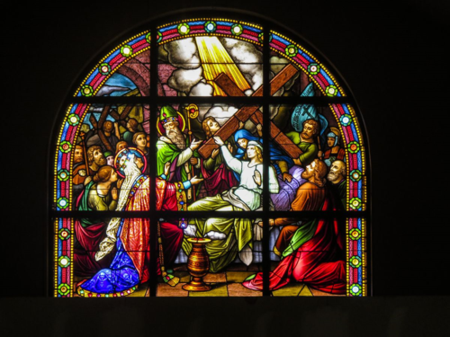 The Discovery of the True Cross Stained Glass Window Holy Cross Rumson