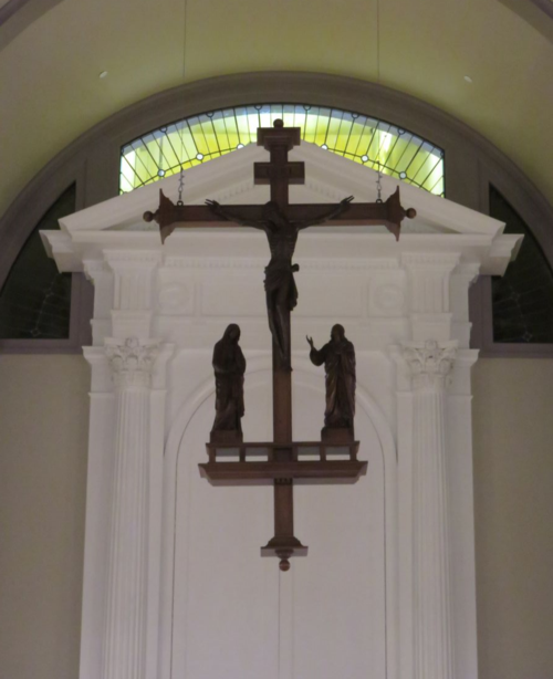 Crucifixion Scene Raised Into Place