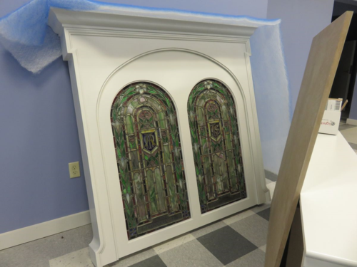 Cabinet front with Stained Glass Windows from Holy Rosary Church Rumson