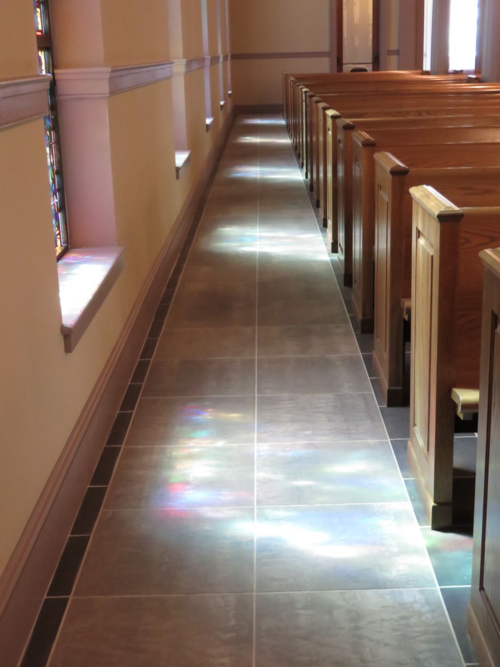 Colored light from Stained Glass Windows